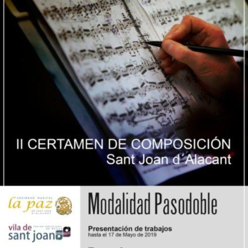 La Sociedad Musical «La Paz» Convoca el II Certamen de Composición Musical «Sant Joan d'Alacant»