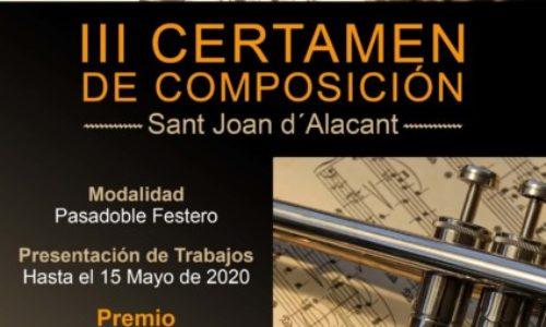 La Sociedad Musical «La Paz» convoca el III Certamen de Composición Musical «Sant Joan d'Alacant»