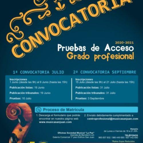 Convocatorias para pruebas de acceso a Grado Profesional 2020/21
